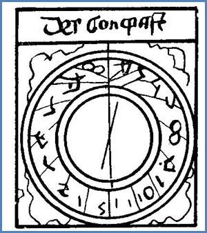 La declinación magnética en una carta alemanadel siglo XV