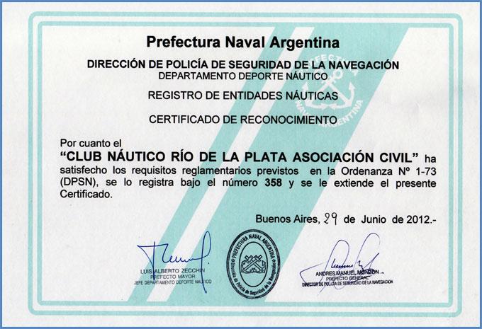 Diploma Prefectura Naval Argentina